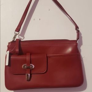 🌸 Nine West Cherry Red Leather Buckle ShoulderBag